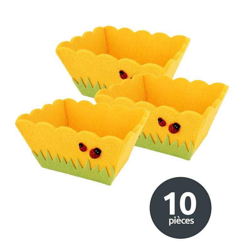Lot 10 paniers feutrine jaune Coccinelles