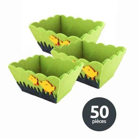 Lot 50 paniers feutrine verte poussins