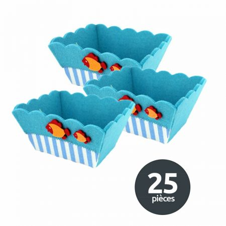 Lot 25 paniers feutrine bleue poissons