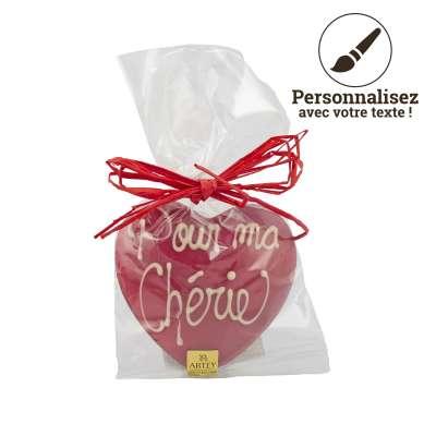 Coeur Chocolat au Lait pulvérisé Rouge à personnaliser