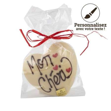 Moulage Coeur au Chocolat Blanc à personnaliser