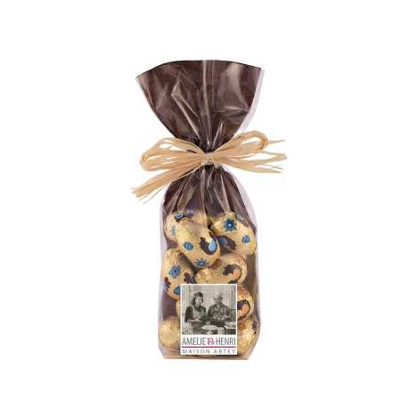 Sachet d'oeufs en chocolat au lait fourré praliné noisette