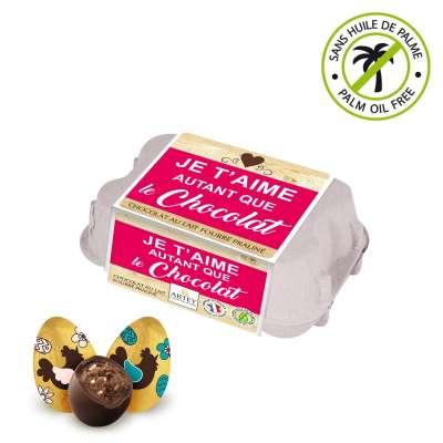 """Boîte à œufs """"Je t'aime autant"""" (au chocolat praliné)"""