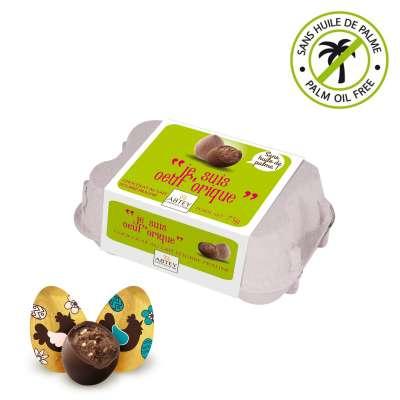 """Boîte à œufs praliné """"Je suis oeuf'orique !"""" (au chocolat praliné)"""