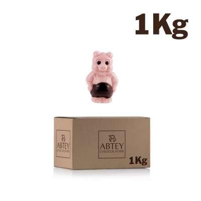 Vrac 1 Kg Cochons décorés (au chocolat au lait et au chocolat fraise décoré)