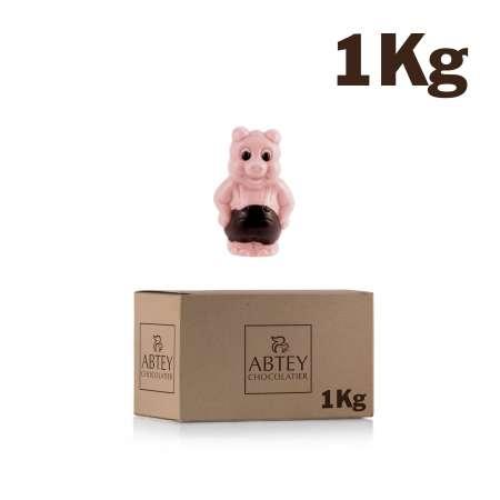 Vrac 1 Kg Cochons (au chocolat blanc décoré et coloré, aromatisé goût fraise)