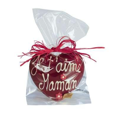 Coeur chocolat noir pulvérisé rouge avec message pour Maman