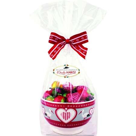 Assortiment chocolats liqueur de fruits Oncle Hansi avec bol