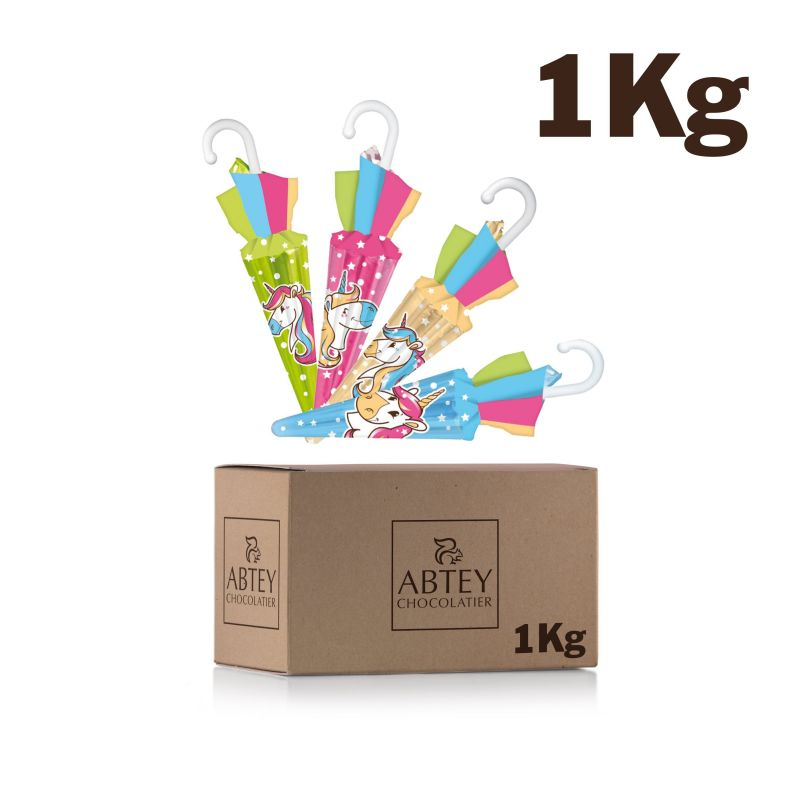 Vrac 1 Kg Parapluies Licorne  (au chocolat au lait)