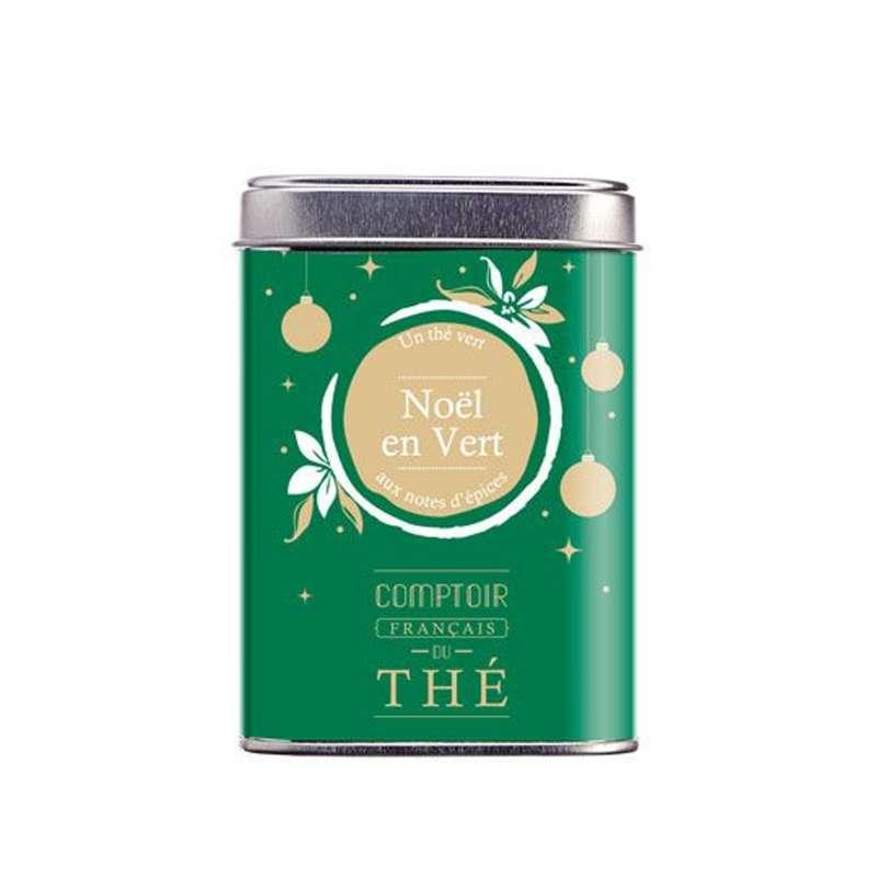 Boîte métal thé Noël en Vert