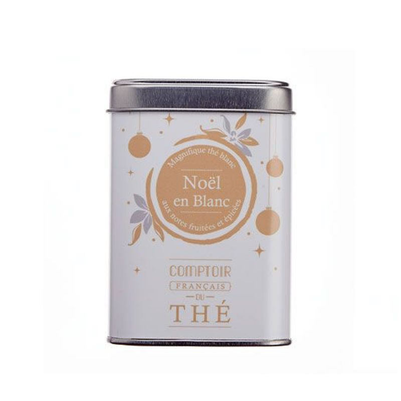 Boîte métal thé Noël en Blanc