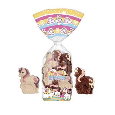 Sachet 7 mini licornes (moulage au chocolat au lait et blanc décoré)