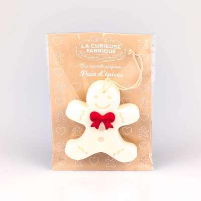 Suspension Bonhomme blanc cire naturelle parfumée au pain d'épices