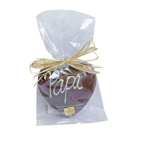 """Coeur """"Papa"""" au chocolat au lait décoré au chocolat blanc (50g)"""