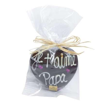 """Coeur """"Je t'aime Papa"""" au chocolat au noir décoré au chocolat blanc (50g)"""