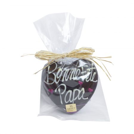 """Coeur """"Bonne fête Papa"""" au chocolat au noir décoré au chocolat blanc (50g)"""