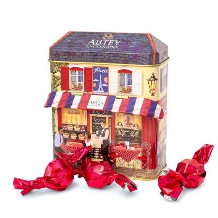 """Boîte en métal collector """"L'atelier"""" de papillotes (au chocolat au lait praliné)"""