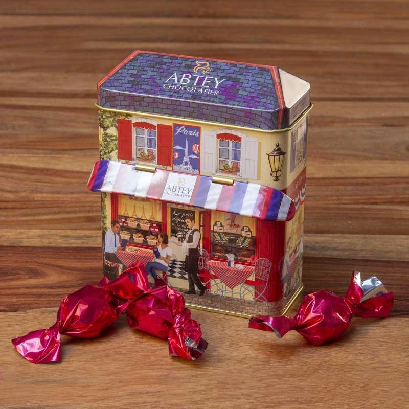 """Boîte métal collector """"L'atelier"""" de papillotes (au chocolat au lait praliné)"""
