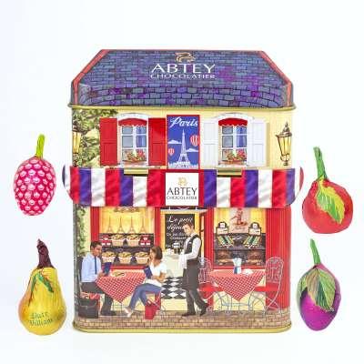 """Boîte en métal """"L'atelier"""" liqueurs de fruits (au chocolat noir)"""