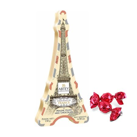 Boîte tour Eiffel métal aux papillotes de chocolat au lait fourré praliné