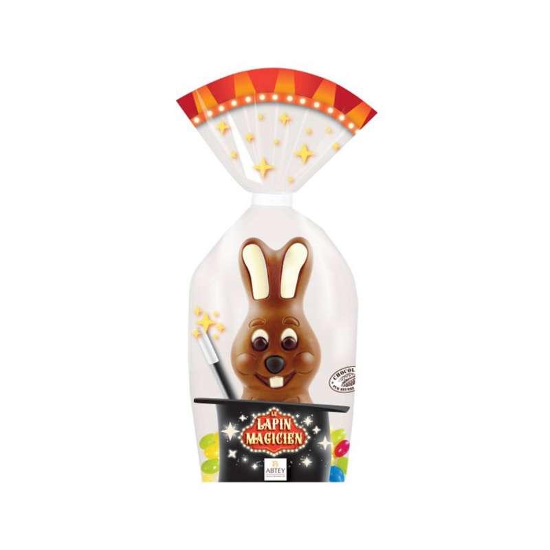 Moulage Quenotte le Lapin Magicien (chocolat au lait décoré + œufs gélifiés)