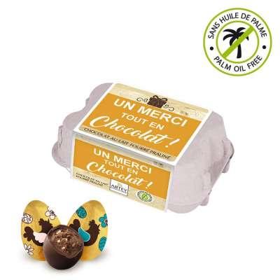 """Boîte à œufs praliné """"Un merci tout en chocolat !"""" (au chocolat praliné)"""