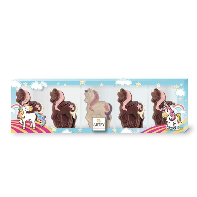 Réglette mini licorne (au chocolat au lait et chocolat blanc décoré)