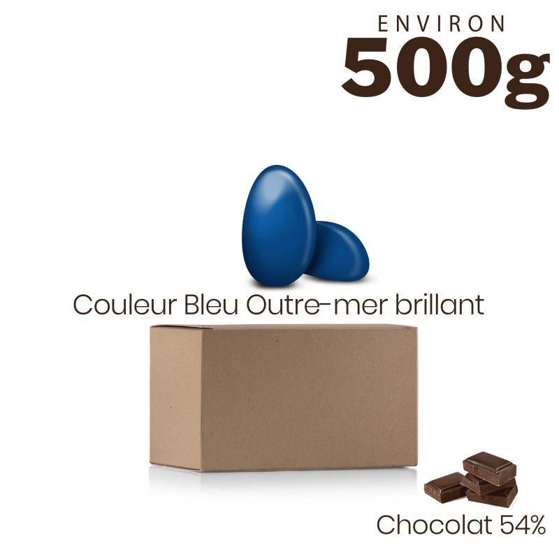 Vrac 500g Dragées Chocolat Couleur Bleu Outre-mer Brillant