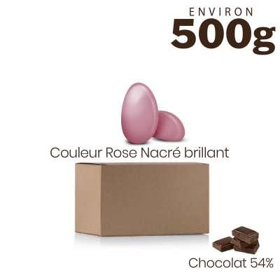 Vrac 500g Dragées Chocolat Couleur Rose Nacré Brillant