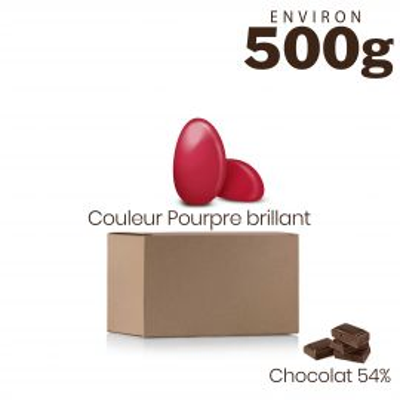 Vrac 500g Dragées Chocolat Couleur Pourpre Brillant