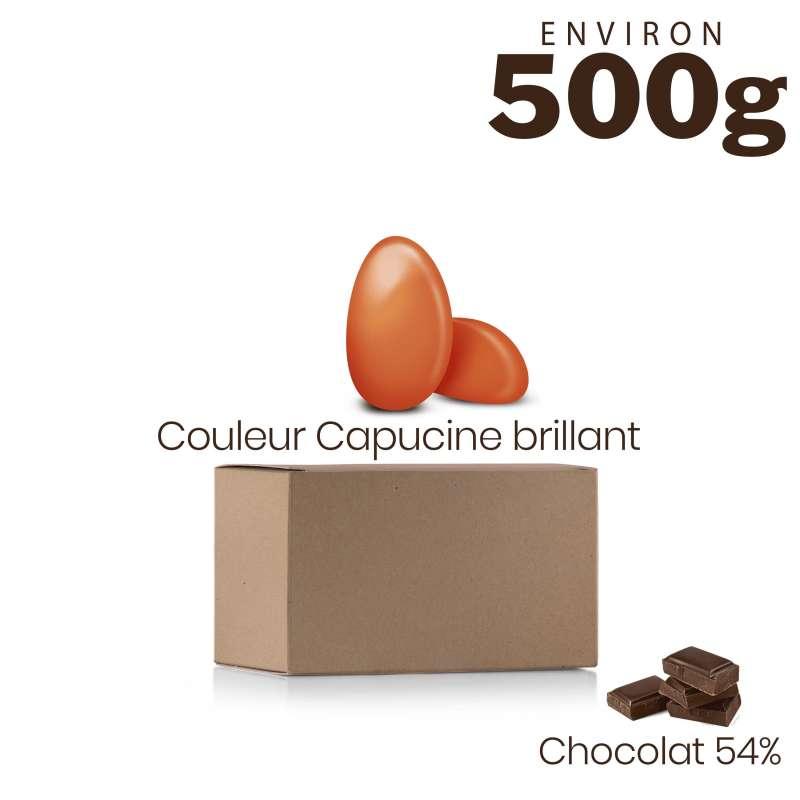 Vrac 500g Dragées Chocolat Couleur Capucine Brillant