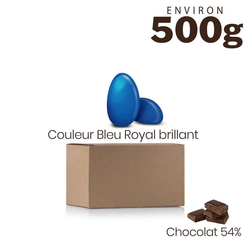 Vrac 500g Dragées Chocolat Couleur Bleu Royal Brillant