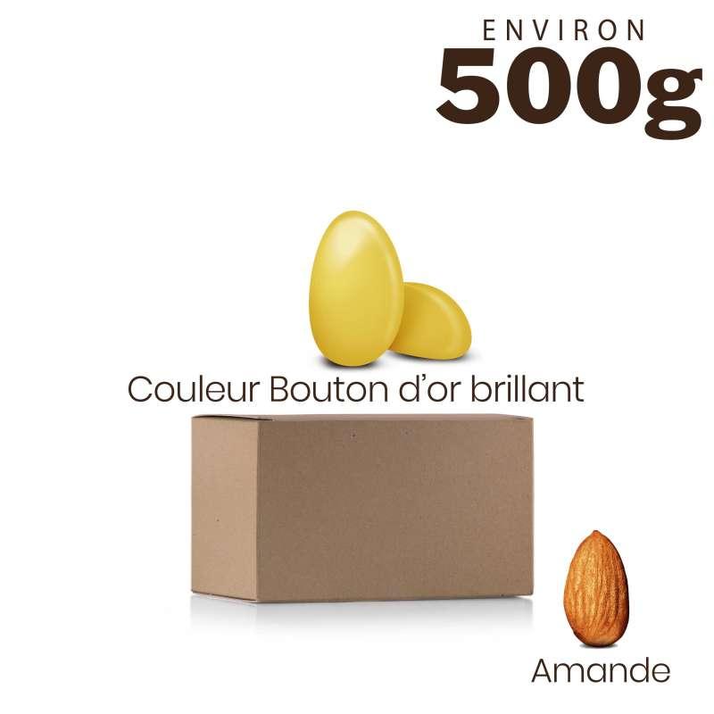 Vrac 500g Dragées Amande Alsace Couleur Jaune Bouton d'Or Brillant