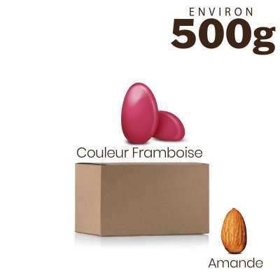 Vrac 500g Dragées Amande Alsace Couleur Framboise Brillant