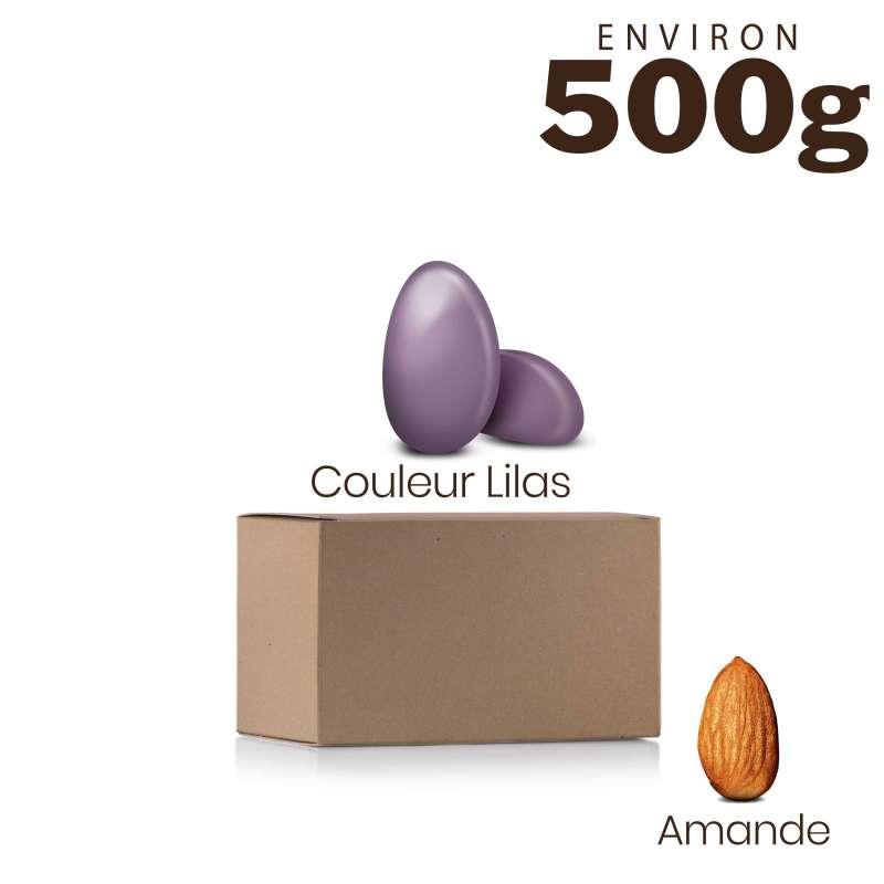 Vrac 500g Dragées Amande Alsace Couleur Lilas