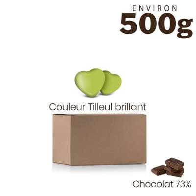 Vrac 500g Dragées Mini Coeurs Chocolat Couleur Tilleul Brillant