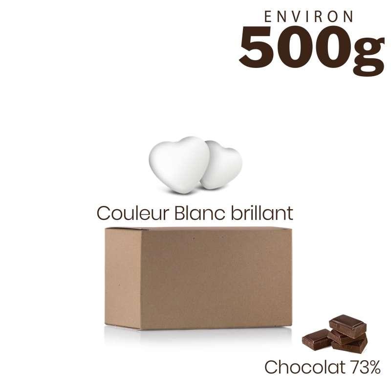 Vrac 500g Dragées Mini Coeurs Chocolat Couleur Blanc Brillant
