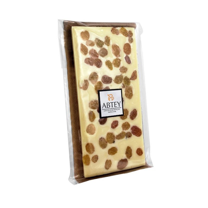Tablette Chocolat blanc raisin Rhum