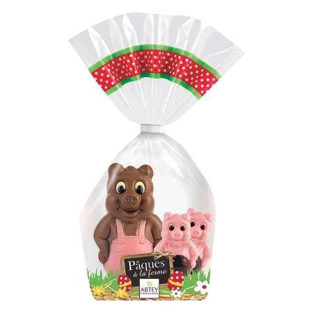 Moulage Gaston le Cochon et ses 2 petits (au chocolat au lait et chocolat blanc coloré et aromatisé)