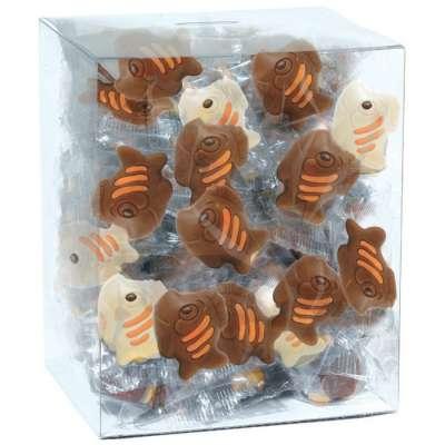 Tubo 40 poissons (au chocolat au lait et blanc décoré)