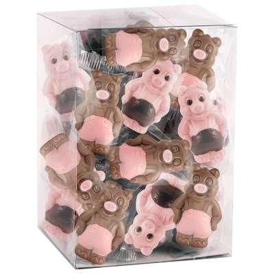 Tubo 25 cochons (au chocolat lait décoré et chocolat blanc coloré, aromatisé fraise et décoré)
