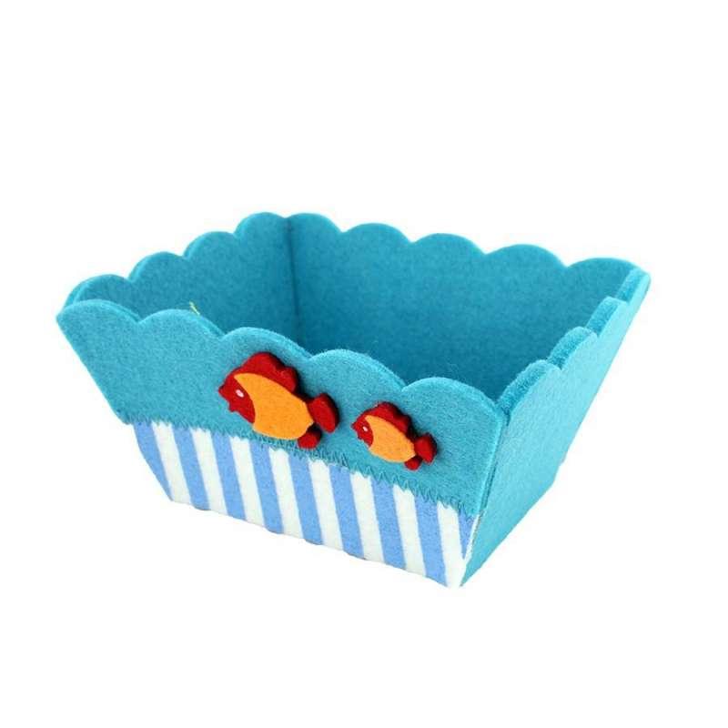 Panier feutrine bleu Poissons