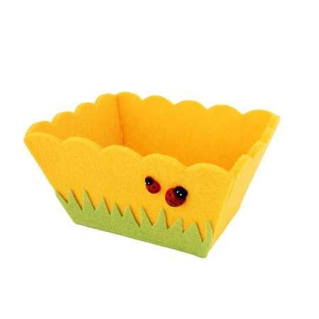 Panier feutrine jaune Coccinelles