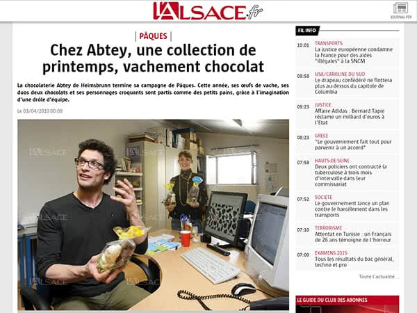 Les articles de presse de la chocolaterie ABTEY - Journal l'Alsace